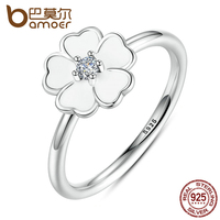 BAMOER 2016 Spring Collection 100 925 Sterling Silver Primrose Stackable Ring White Enamel Ring Feminine Jewelry