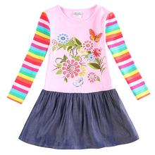 NEAT retail rainbow sleeve bohemian style lovely dress for kids baby girl clothes pink child dress flowers print LH5803# neat wholesale new baby girl clothes college style lovely girls dresses kids clothes long sleeve dress cartoon elephant sg006