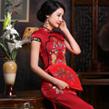 chinese qipao wedding dress modern qipao dress long sleeve silk women size 4xl xxxl cheongsam qipao dress in red for women