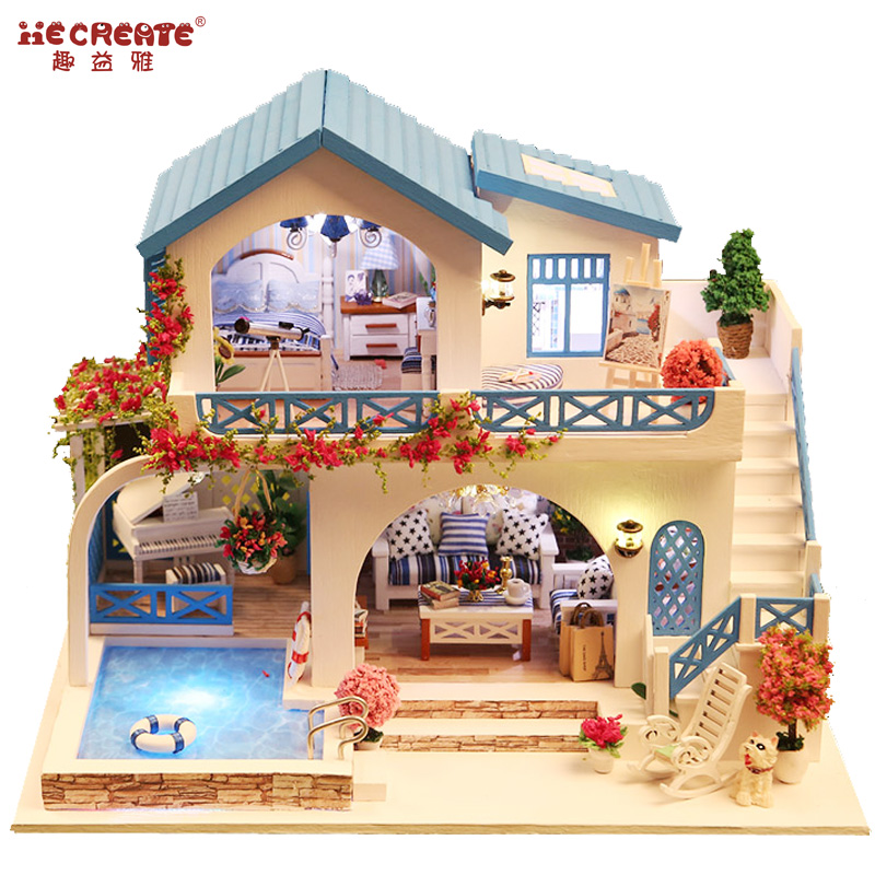 Diy doll house kit with swimming pool miniatures dollhouse wooden toys for children home toy for Barbie doll house with swimming pool