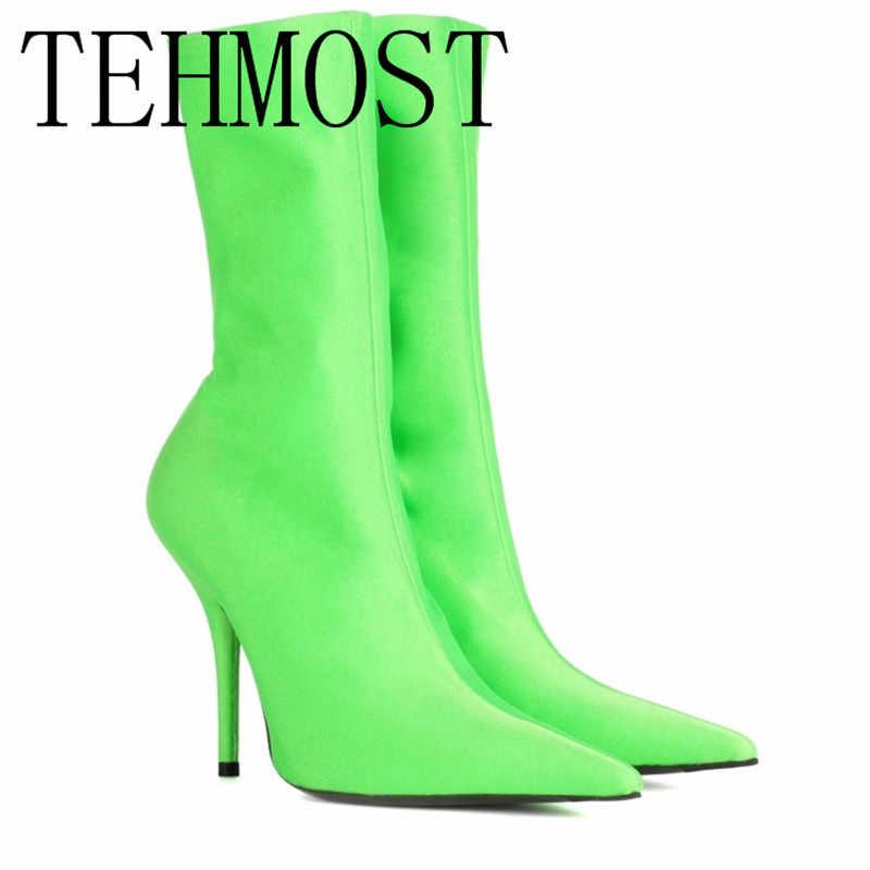 Arqaцветочный принт, сексуальный острый носок, женские ботинки, тянущиеся, острый носок, высокий каблук, ботильоны, модные женские ботинки