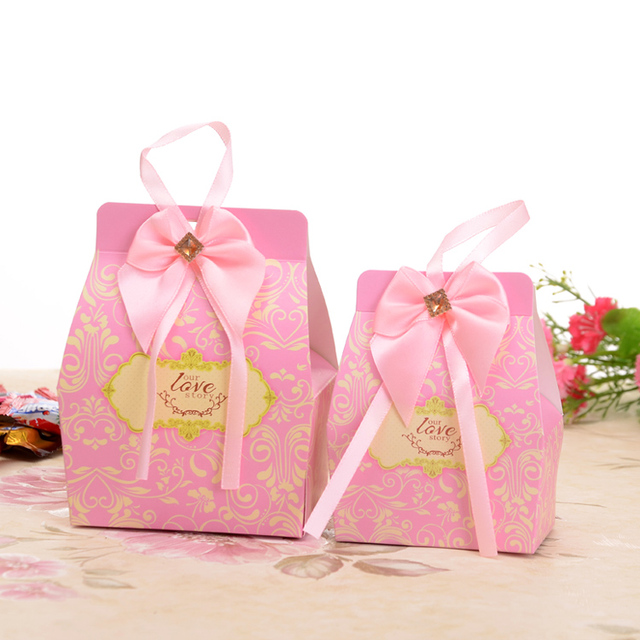 50pcs Lot Large Our Love Story Pink Wedding Favor Bo Box For Candy