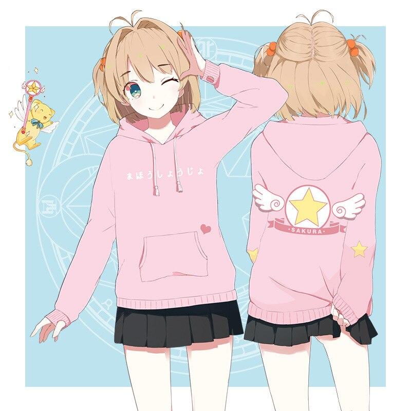 Anime carte Captor Sakura magique bande dessinée à capuche manteau vêtements Cosplay pull à capuche chandail femmes