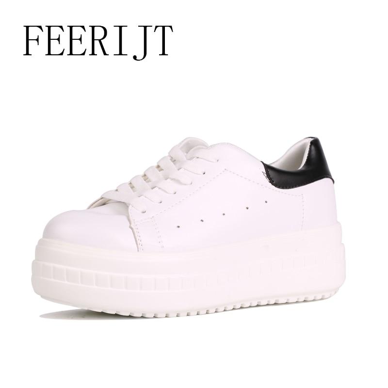 2018 Fashion Women Platform Flats Spring Autumn White Lace Up Women Sneakers Casual Round Toe Platform Shoes 040