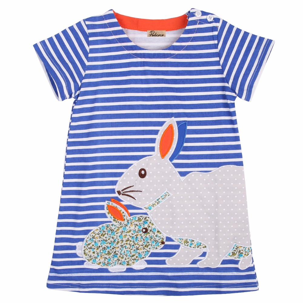 2016 New Baby Girls Summer Dress Kawaii Kids Girl Short Sleeve Rabbit Striped Dresses for 2-7Y Children