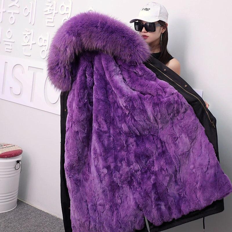 X-long Détachable De Fourrure De Lapin Linner Hiver Femmes Parkas de Manteau 2018 Nouveau streetwear Violet De Fourrure À Capuchon Femelle Solide fourrure veste