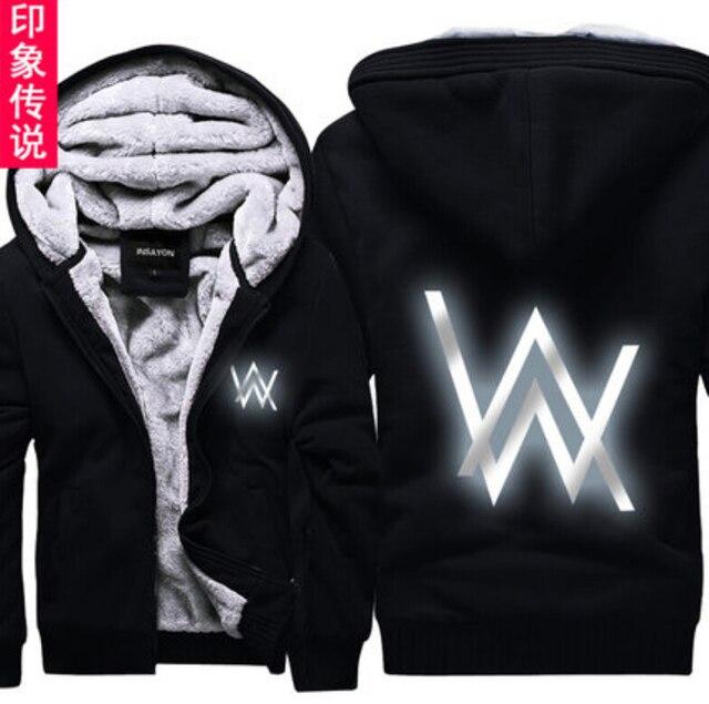 Jolintsai 2017 Hoody Hoodies Men Winter Jackets and Coats Faded Alan Walker Hoodie M-5XL Luminous Thick Zipper Men Sweatshirts