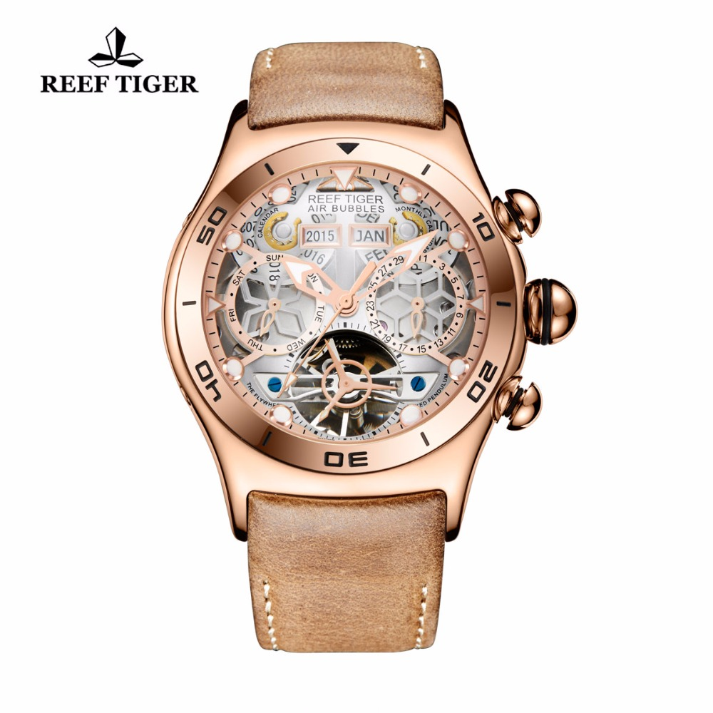Reef Tiger Mens Sport Watches Waterproof Luxury Rose Gold Automatic Watches Tourbillon Leather Strap Watches RGA703