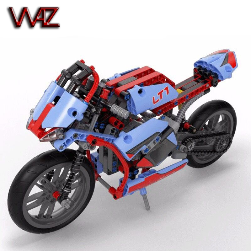 2in1 model Technic Motorbike Motorcycle Car building bricks blocks toys for children boy 391 pcs 8051 compatible with lego 42036 technic 2 in 1 rally car lepin building blocks set bricks city classic model kids toys for children gift compatible legoe