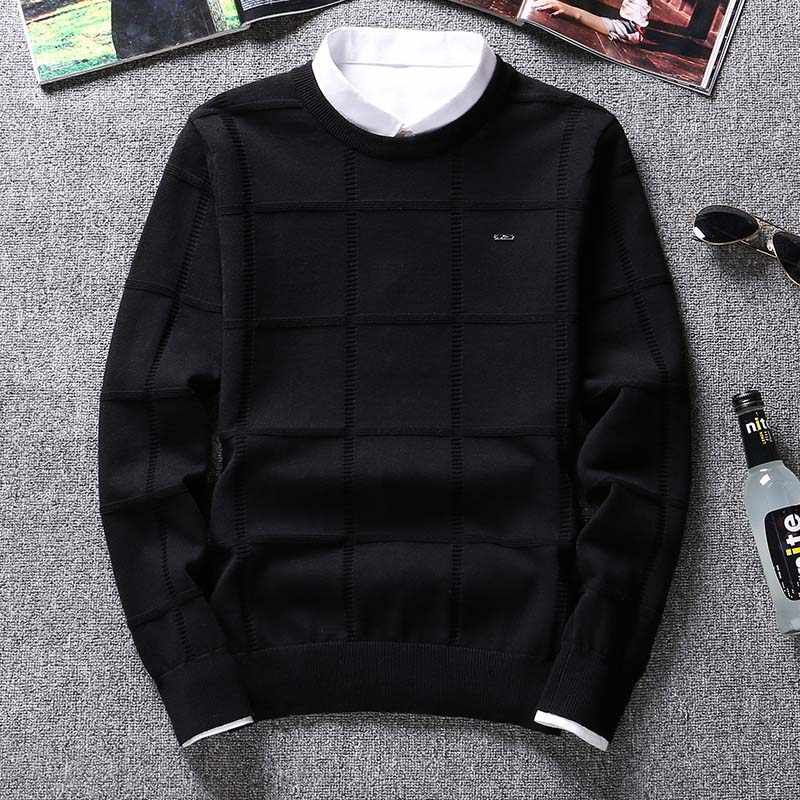 Solid Color Sweaters Men O Neck Pullover Men Long Sleeve Men's Sweater Casual Dress Male Brand Cashmere Check Knitwear Man Pull