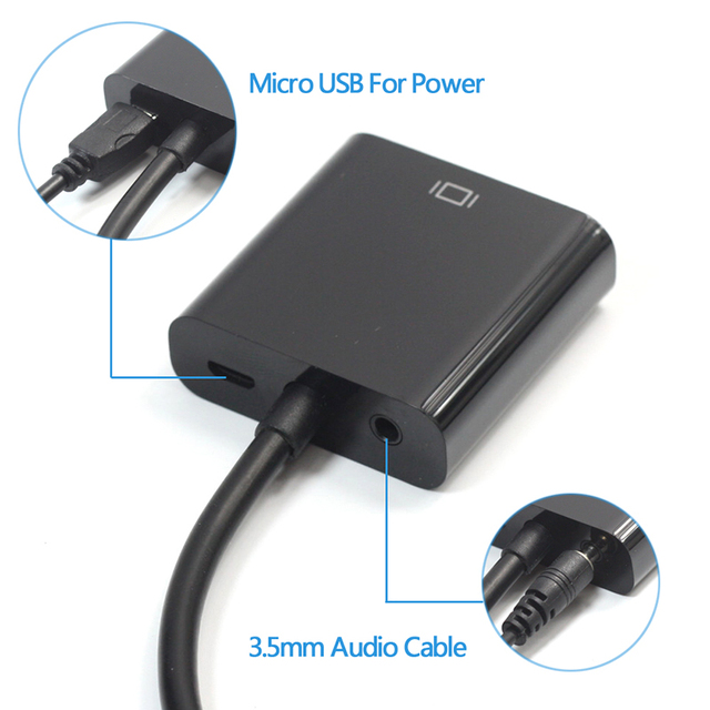 EGRINCY Micro HDMI na kabel vga męski na żeński adapter vga z 3.5mm gniazdo audio i kabel Micro USB konwerter HDMI na XBOX PS4