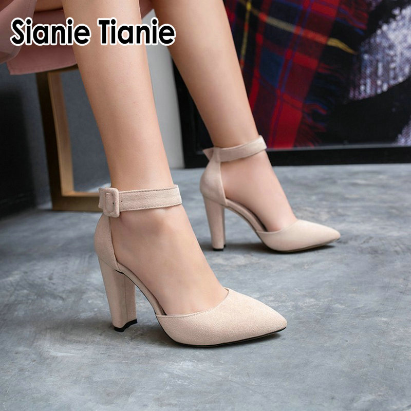 Sianie Tianie 2019 spring autumn new pointed toe classic woman spike thick high heels buckle strap mary janes women pumps shoes