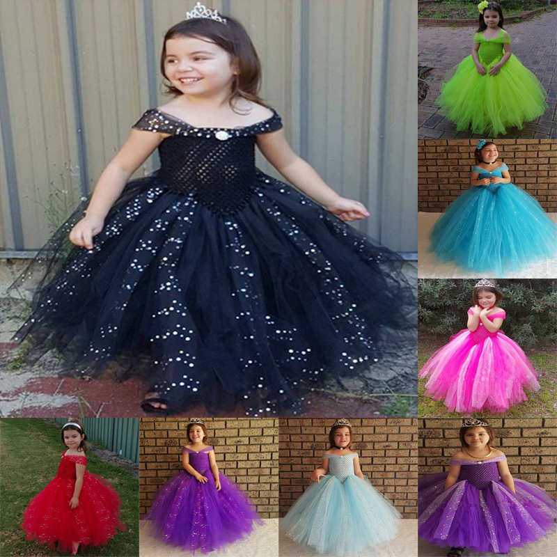 1-10Y Princess Shining Tulle   Flower     Girl   Yellow   Dress   Kids Party Pageant Wedding   Flower     Girls     Dress   Cute Gown   Dress   Robe Enfan