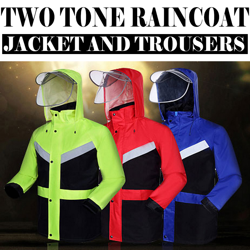цены Hi viz vis rain jacket and pants  split raincoat with reflective strips tapes rain suit rainwear jacket & pants free shipping