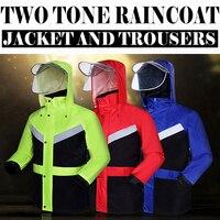 Hi Viz Vis Rain Jacket And Pants Split Raincoat With Reflective Strips Tapes Rain Suit Rainwear