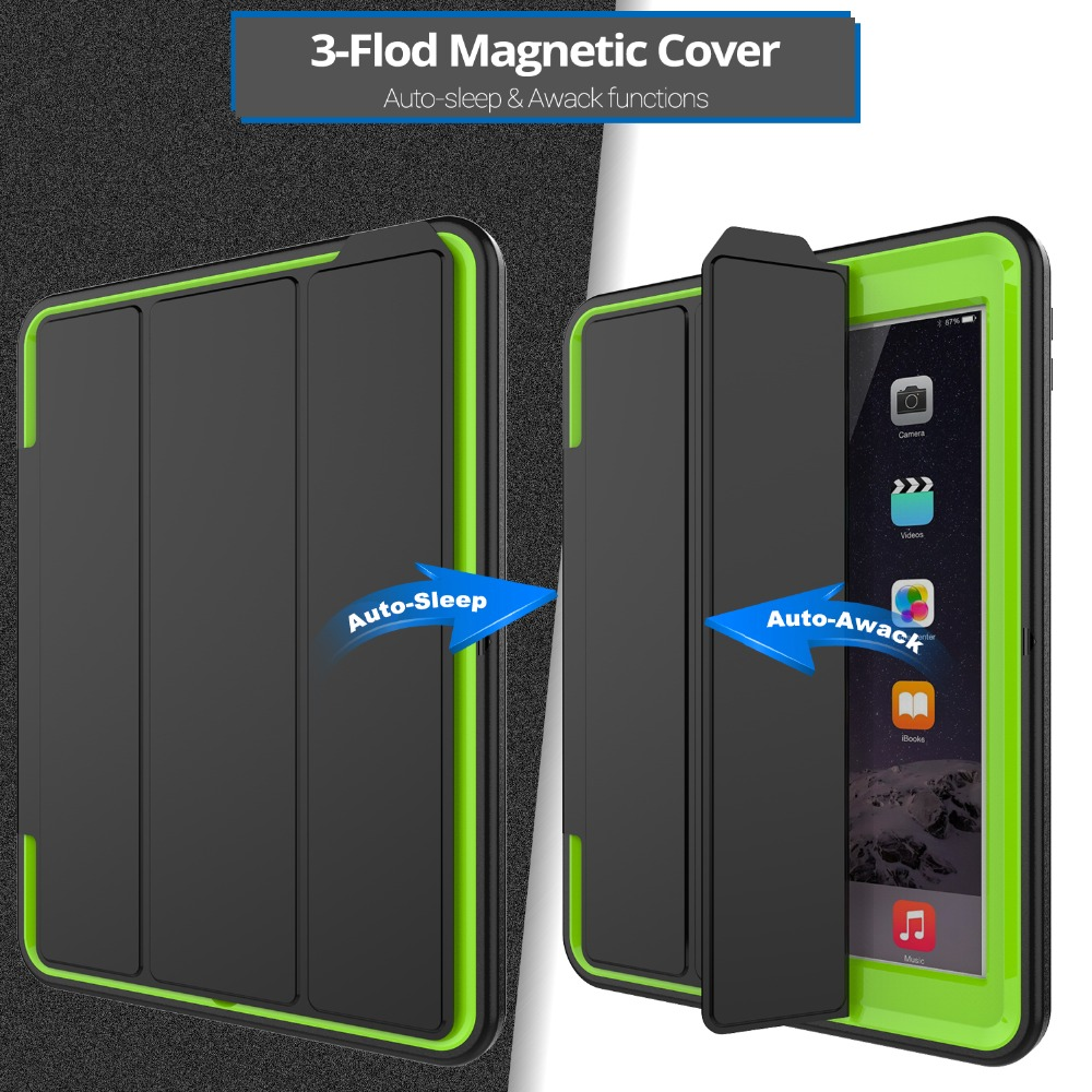 Full protection Case For apple ipad 9.7 2017 2018 Kids Safe Shockproof Heavy Duty TPU Hard Cover kickstand A1822 A1823