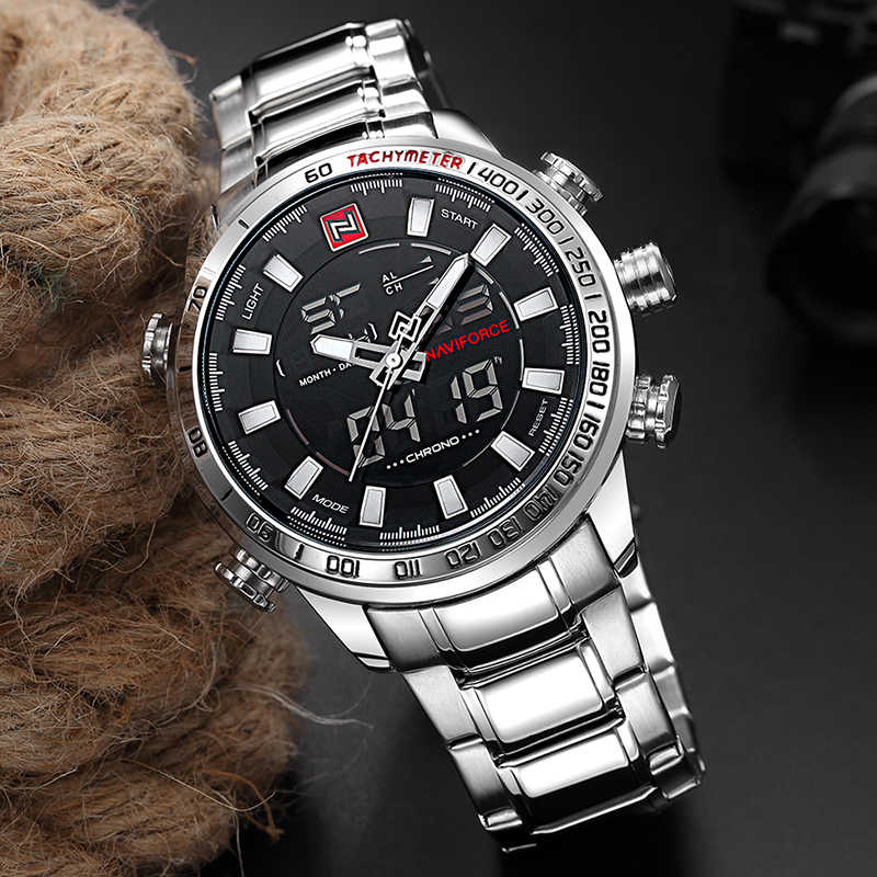 NAVIFORCE Top marque hommes Sport militaire montres hommes LED analogique montre numérique homme armée en acier inoxydable Quartz horloge Relogio Masculino