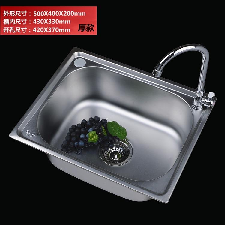 Moderne 304 roestvrijstalen aanrecht met wastafel kraan, enkele kom, Keuken accessoires, badrandcombinaties, met installion video - 3
