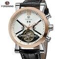 Forsining Лидирующий бренд Мужские часы супер стильные импортные фирменные Autoamtic Tourbillion календарь наручные часы классический цвет черный
