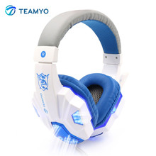 Teamyo PC780 Glowing Gaming Headset Wired Headband Headphones with Mic Over Ear Stereo Auriculares for Laptop Computer Gamer