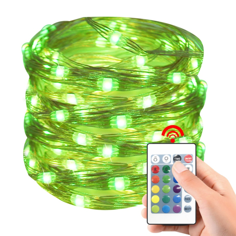 50LEDs Fairy Lights Battery Powered Multi Color Changing String Lights 24 Keys Remote Control And Waterproof Battery