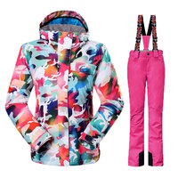 Free Shipping 2014 Camouflage Ms GSOU SNOW Counters Authentic Warm Female Ski Suit For Single And