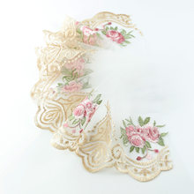 2 Yards Handmade DIY Clothing Accessories Floral Embroidery Lace Fabric Curtains Sofa Lace Trim 22cm(China)