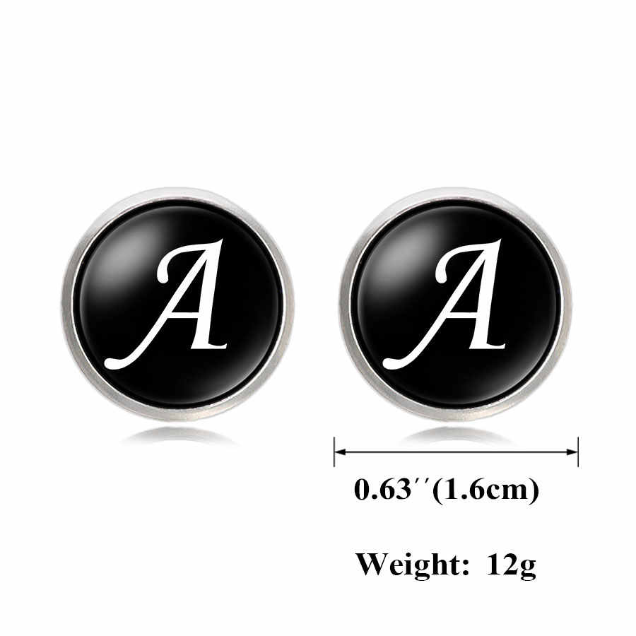New Arrival Glass Cabochon Letters Cufflinks For Men Unique Classic Black Mens Copper Cool Cuff links A-M Jewelry