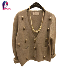 Hot Sale Fashion Casual Women's Autumn Winter Cardigan Long Sleeve Short Knitted Cardigans 2016 New Female Beading Sweaters