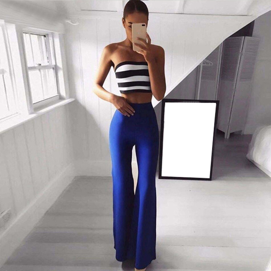 Adyce 2019 Women Summer Sets Tops Pant 2 Two Pieces Full Length Strapless Striped Night Out