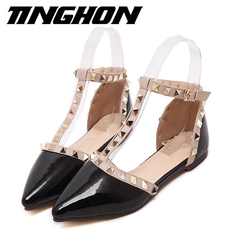 New Fashion women Patent Leather rivets women flats shoes Sexy Pointed toe women low heels shoes woman free shipping poe 2 0mp onvif h 264 hd surveillance camera 22 ir pan tilt waterproof dome security ip network cctv camera 1080p
