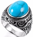 Men's Classic Vintage Turquoise Biker Ring,Stainless Steel Silver Black Band Ring,Wedding party Jewelry