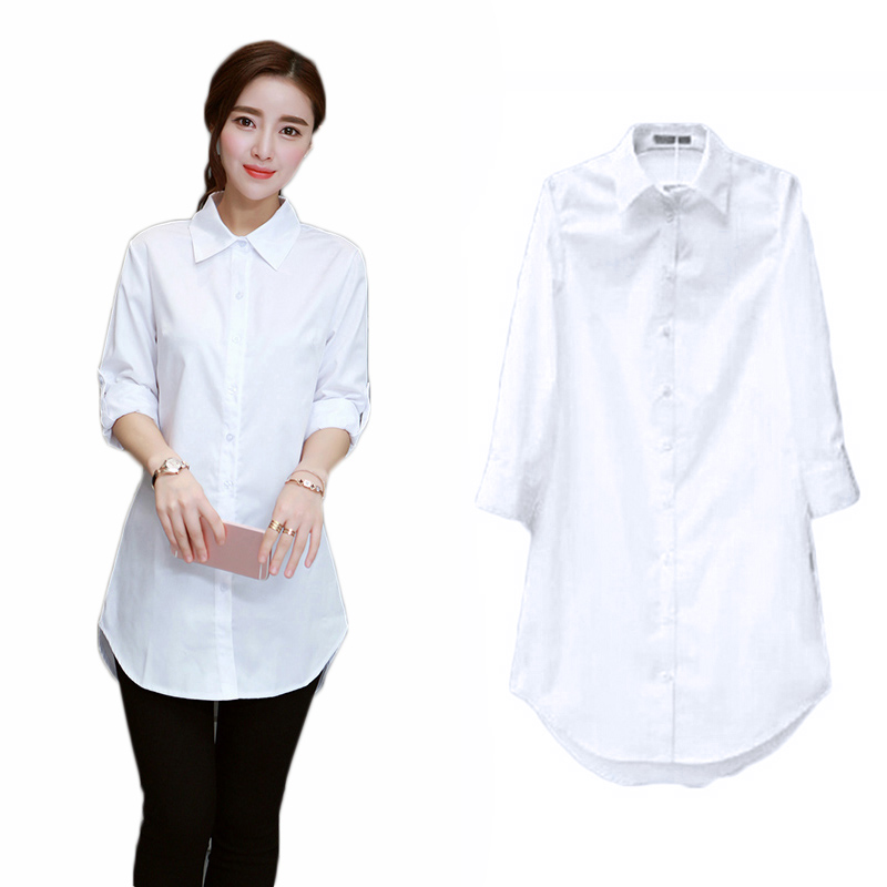 Plus Size Women Clothing 2018 Fashion Casual Autumn Spring Long Sleeve White Long Blouse Tops