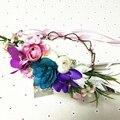 Mulheres do casamento da grinalda da flor coroa De flores de Noiva do partido Dos Miúdos floral guirlandas de noiva flor cocar cabelo da flor banda jóias Foto