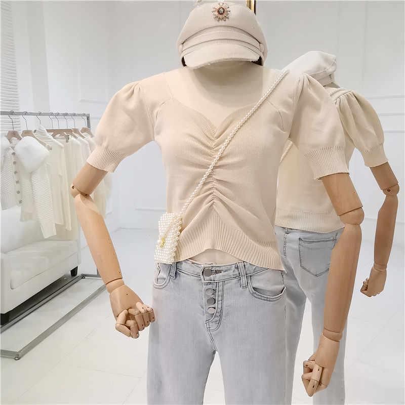 נקבה בנות קצר פאף שרוול חולצה נשים קיץ בציר דק V-צוואר slim סרוג סוודר קצר עיצוב חולצות סוודר חולצות
