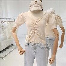 Girls short Puff Sleeve T-shirt women summer vintage thin V-neck slim knitted sweater short design shirts pullover tops
