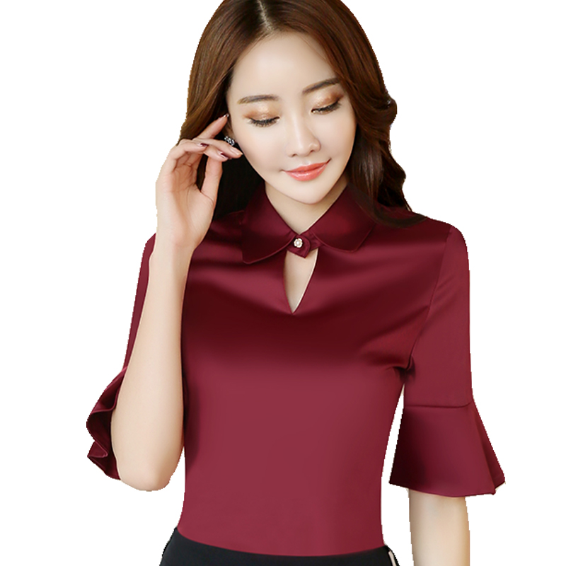delgado formal de manga corta mujeres camiseta ol de moda de verano elegante ropa de