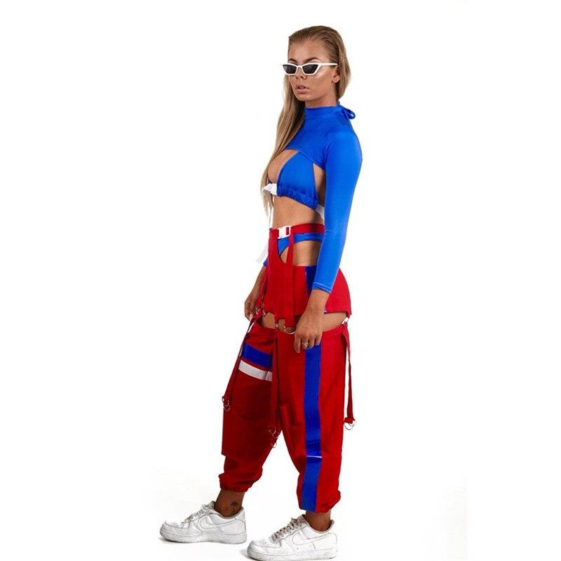 Women Striped Print Buckle Cut Out Harem Pants Patchwork Loose Cargo Pants Streetwear High Waist Pants