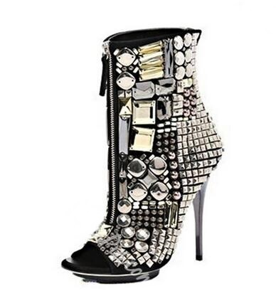 Sexy Crystal Zipper Front Ankle Boots For Women Peep Toe Thin Heels  Platform Glatiator Sandals Boots 689bb7902b5a