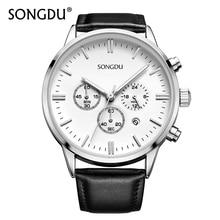 Men Multifunction Watch Top Fashion Brand SONGDU Clock Date High Quality Leather Strap Waterproof Quartz Wristwatches Hot Sale