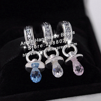 3pcs S925 Sterling Silver Beads Pink White Blue Pacifier Charms Jewelry Set Fit Bracelets Necklaces Jewelry Making Woman Gift