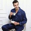 Mens De Satén de Seda Pijamas Sexy Pijamas Pijamas Set Homewear Loungewear Pijama Otoño Invierno Ropa de Dormir