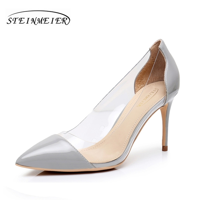 3a7fb12e104 High heels for women sexy thin 8.5cm 10cm patent leather shoes grey pumps  lady elegant