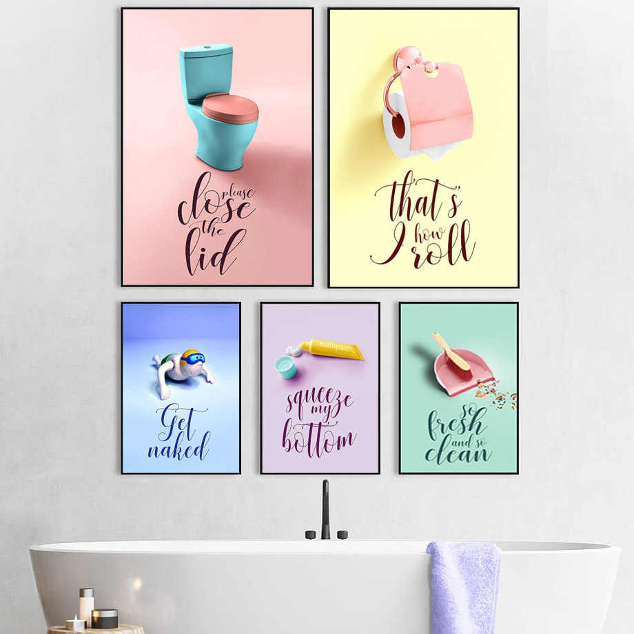 Colorful Toilet Paper Toothpaste Broom Wall Art Canvas Painting Nordic Posters And Prints Wall Pictures For Bathroom Home Decor