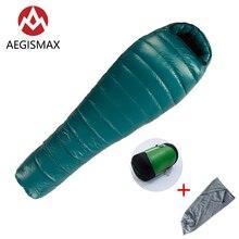 AEGISMAX M3 Mummy Schlafsack Ultraleicht 800FP 95% Weiße Gans Unten Box Schikanen Winter Outdoor Camping Wandern Schlafsack