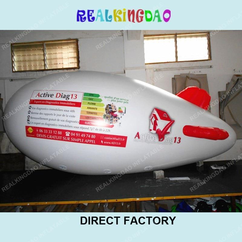 4 m/13ft blanco inflable rojo aletas aeronave zepelín dirigible con logo de doble cara de impresión