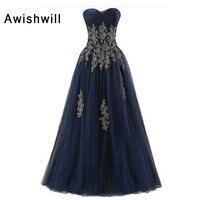 На заказ; Большие размеры вечернее платье с длинным Темно синие Аппликации Тюль бальное платье выпускного вечера вечерние платье торжестве