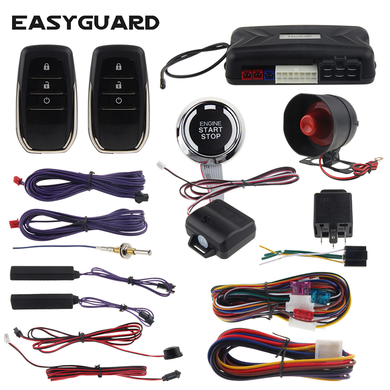 EASYGUARD PKE car alarm proximity unlock lock remote starter & push engine start button shock alarm warning dc12V universal easyguard pke car alarm system remote lock unlock remote engine start push button start stop remote trunk release shock alarm