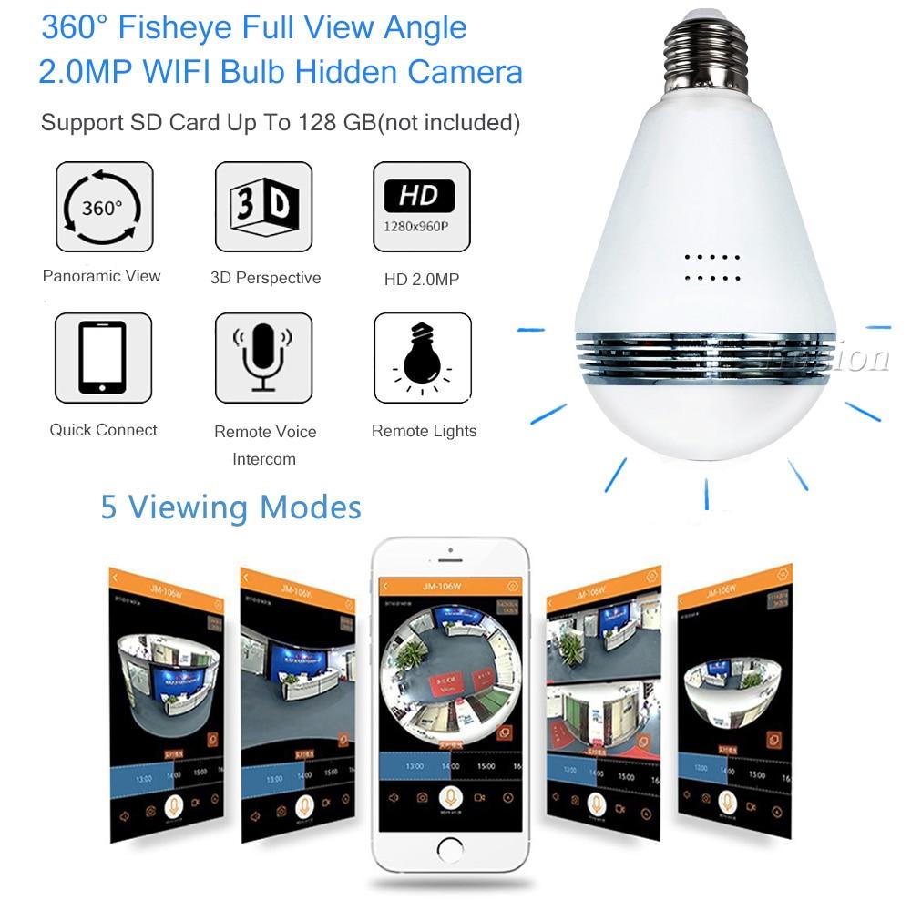 IP WIFI Mini Macchina Fotografica 360 Lampadina di IR di Visione Notturna in tempo reale di Sorveglianza di Sicurezza CCTV Cam Segreto 1.3MP Smart per iPhone Android