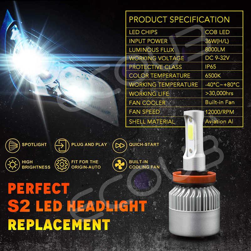 2pcs H4 Car Headlight Bulbs LED H7 H1 H4 H11 9005 9006 Hb3 Hb4 LED 6500K 8000LM 12V S2 Auto Fog Light for Car Super Bright Moto